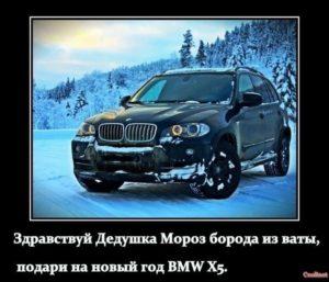 Здравствуй Дедушка Мороз борода из ваты, подари на Новый год BMW X5