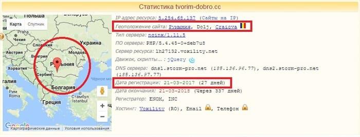 Дата регистрации сайта tvorim-dobro.cc и расположение сервера.