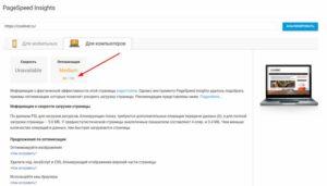 Тестирование сайта на скорость сервисом PageSpeed Insights